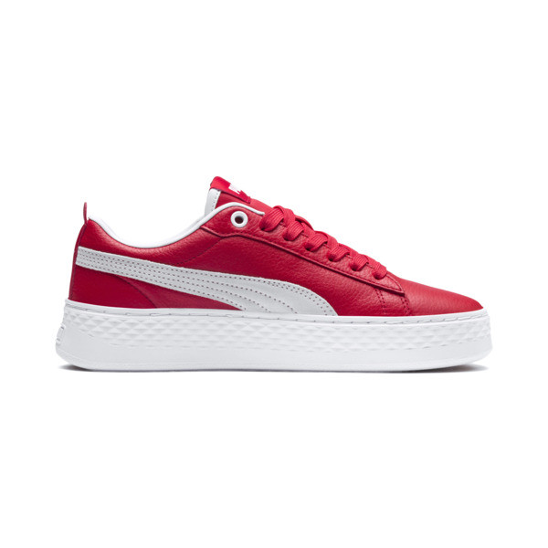 Puma Smash Platform Women's Shoes, High Risk Red-Puma White, large