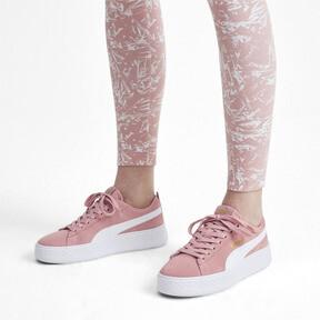 Thumbnail 2 van Smash Platform sportschoenen van suède voor vrouwen, Bridal Rose-Puma White-Gold, medium
