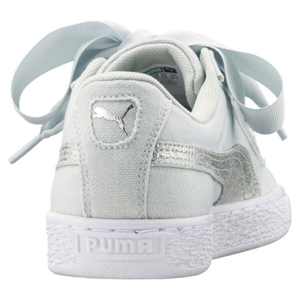 Basket Heart Canvas Women's Sneakers, Blue Flower-White-Silver, large