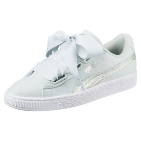 Thumbnail 1 of Basket Heart Canvas Women's Sneakers, Blue Flower-White-Silver, medium