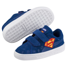 Thumbnail 2 of Justice League Suede All-Over Print V Baby's Trainers, Limoges-Dandelion-Red, medium