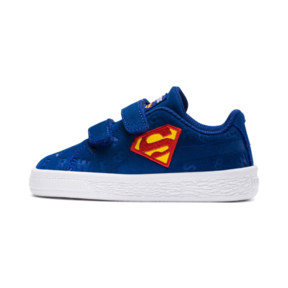 Thumbnail 1 of Justice League Suede All-Over Print V Baby's Trainers, Limoges-Dandelion-Red, medium