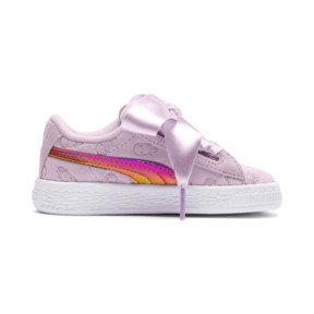 Thumbnail 5 of PUMA x MINIONS Suede Heart Fluffy Girls' Sneakers, Winsome Orchid, medium