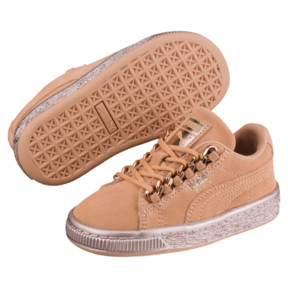 Thumbnail 2 of Suede Classic X-Chain Preschool Sneakers, Dusty Coral-Rose Gold, medium