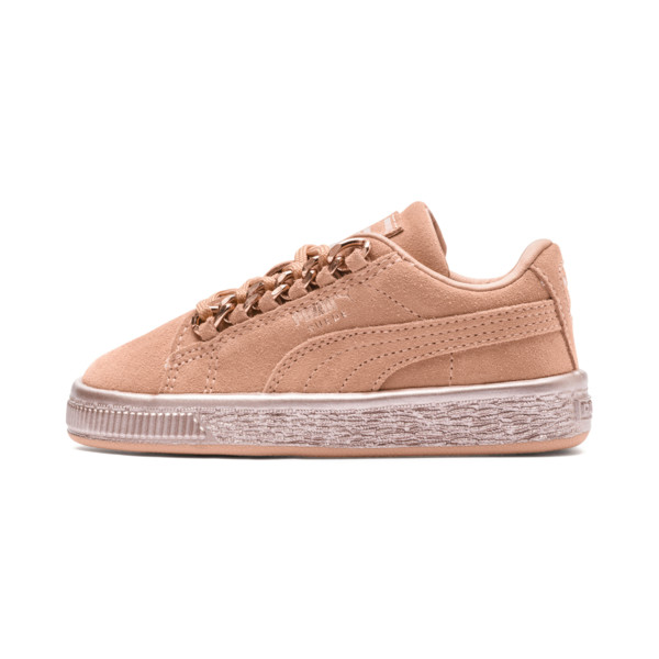 Suede Classic X-Chain Preschool Sneakers, Dusty Coral-Rose Gold, large