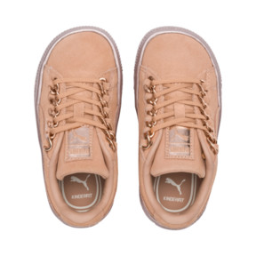Thumbnail 6 of Suede Classic X-Chain Preschool Sneakers, Dusty Coral-Rose Gold, medium