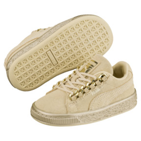 Thumbnail 2 of Suede Classic X-Chain Infant Sneakers, Reed Yellow-Metallic Gold, medium