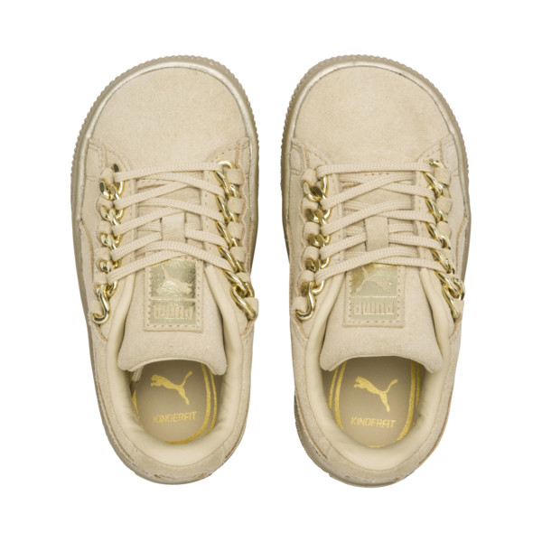 Suede Classic X-Chain Infant Sneakers, Reed Yellow-Metallic Gold, large