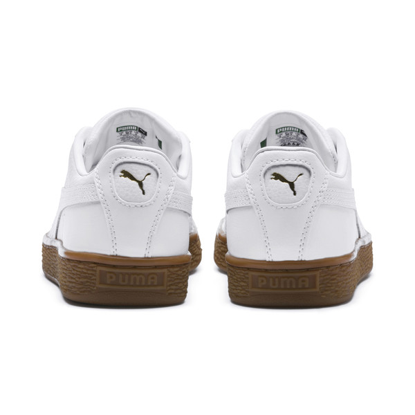 Basket Classic Gum  Kids' Trainers, Puma White-Metallic Gold, large