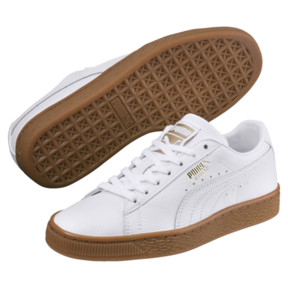 Thumbnail 2 of Basket Classic Gum  Kids' Trainers, Puma White-Metallic Gold, medium