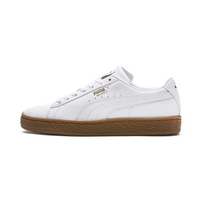 Thumbnail 1 of Basket Classic Gum  Kids' Trainers, Puma White-Metallic Gold, medium