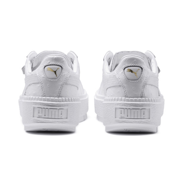Platform Trace Ostrich Women's Trainers, Puma White-Puma White, large