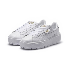 Thumbnail 2 of Platform Trace Ostrich Women's Trainers, Puma White-Puma White, medium