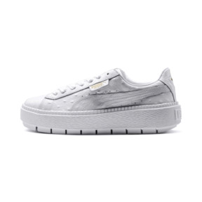 Thumbnail 1 of Platform Trace Ostrich Women's Trainers, Puma White-Puma White, medium