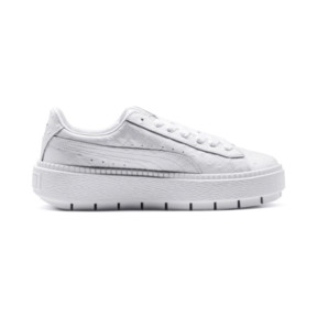 Thumbnail 5 of Platform Trace Ostrich Women's Trainers, Puma White-Puma White, medium