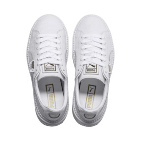 Thumbnail 6 of Platform Trace Ostrich Women's Trainers, Puma White-Puma White, medium