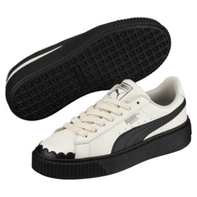Thumbnail 2 of Basket Platform Scallop Damen Sneaker, Whisper White-Puma Black, medium