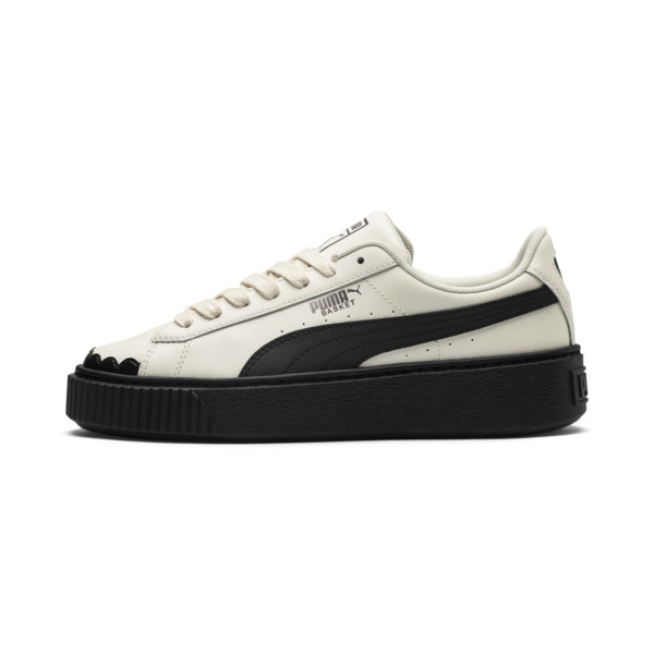Basket Platform Scallop Damen Sneaker, Whisper White-Puma Black, large