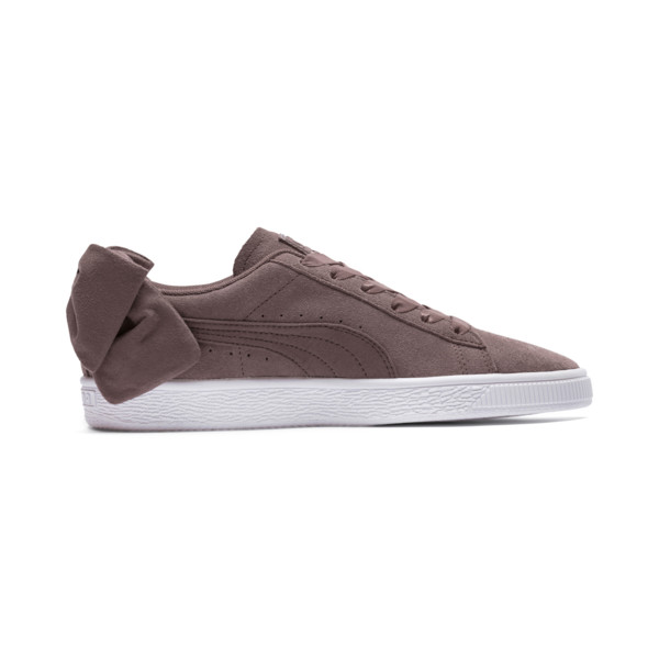 Suede Bow Women's Sneakers, Peppercorn-Peppercorn, large