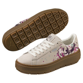 Thumbnail 2 of Suede Platform Digital Embroidery Women's Sneakers, Whisper White-Whisper White, medium