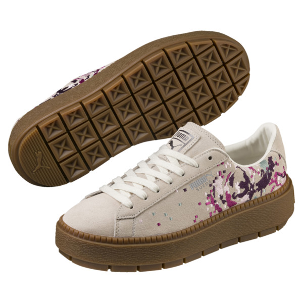 Suede Platform Digital Embroidery Women's Sneakers, Whisper White-Whisper White, large