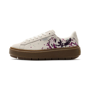 Thumbnail 1 of Suede Platform Digital Embroidery Women's Sneakers, Whisper White-Whisper White, medium