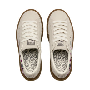 Thumbnail 6 of Suede Platform Digital Embroidery Women's Sneakers, Whisper White-Whisper White, medium