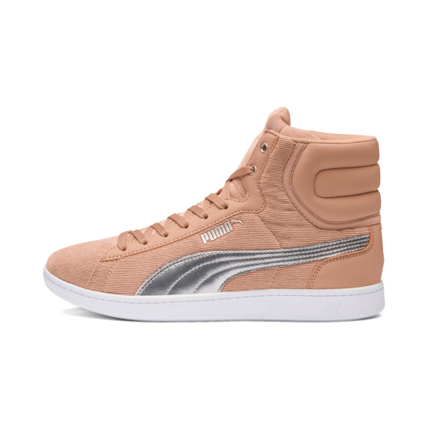 Puma Vikky Mid Cord Women's Sneakers, Dusty Coral-Puma Silver, large