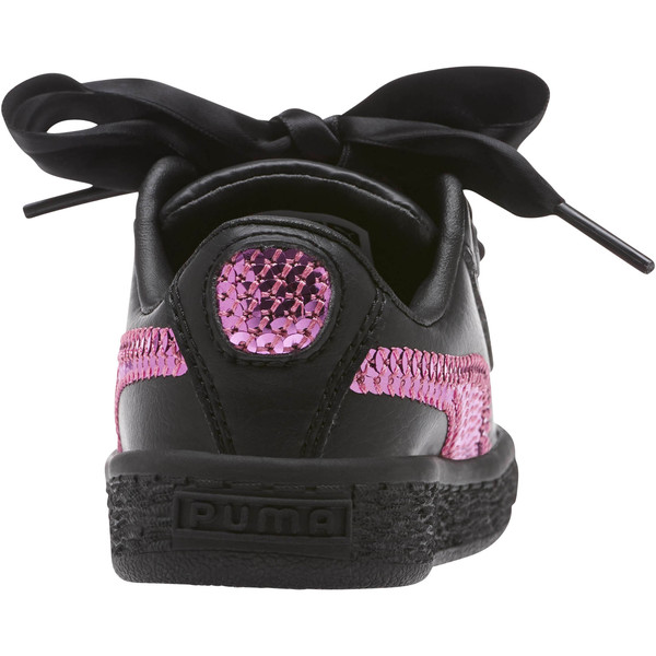 Basket Heart Bling Infant Sneakers, Puma Black-Orchid, large