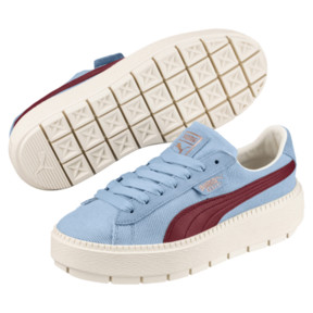 Thumbnail 2 of Platform Trace Corduroy Women's Sneakers, CERULEAN-Pomegranate, medium