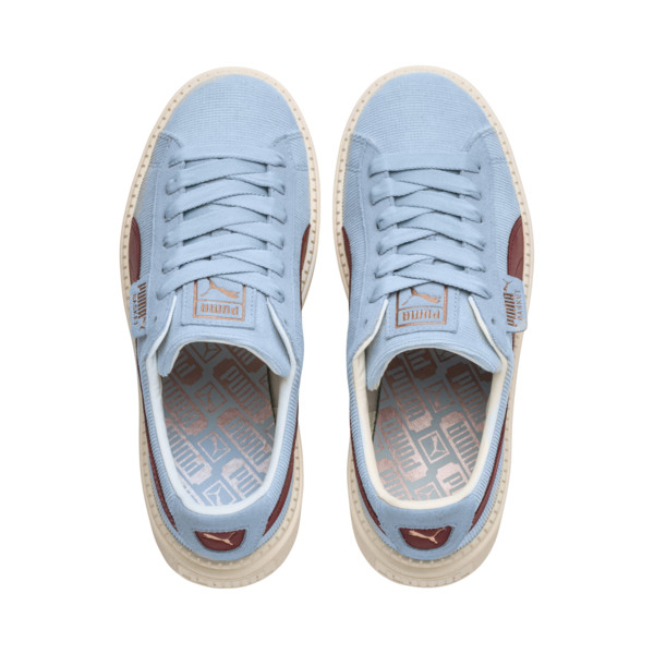 Platform Trace Corduroy Women's Sneakers, CERULEAN-Pomegranate, large