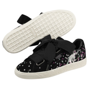 Thumbnail 2 of Suede Heart Embossed Women's Sneakers, Puma Black-Puma Black, medium
