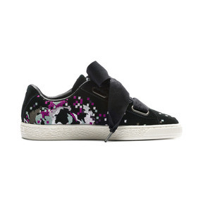 Thumbnail 5 of Suede Heart Embossed Women's Sneakers, Puma Black-Puma Black, medium