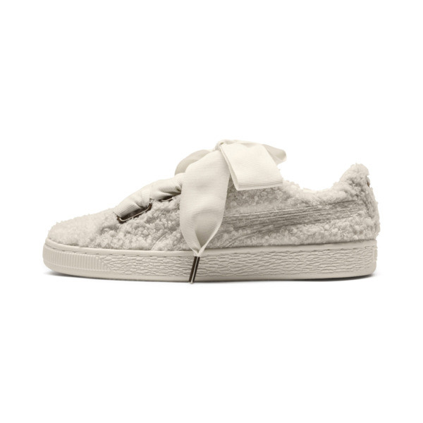 Basket Heart Teddy Women's Sneakers, Whisper White-Whisper White, large