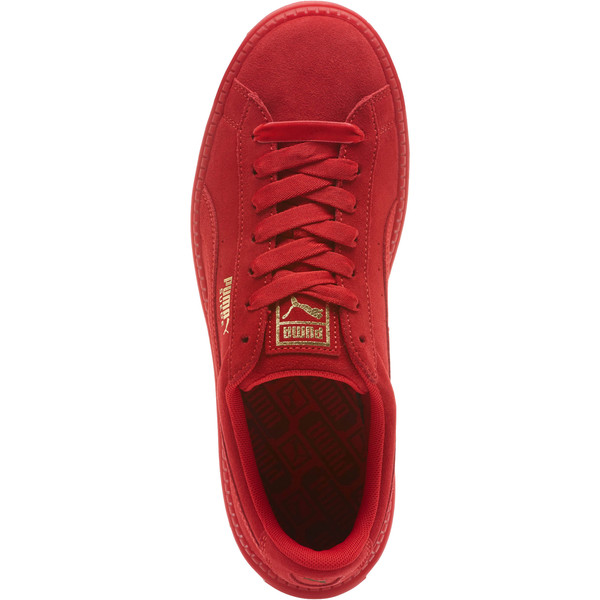 Suede Platform Trace Valentine's Day Women's Sneakers, Red Dahlia-Barbados Cherry, large