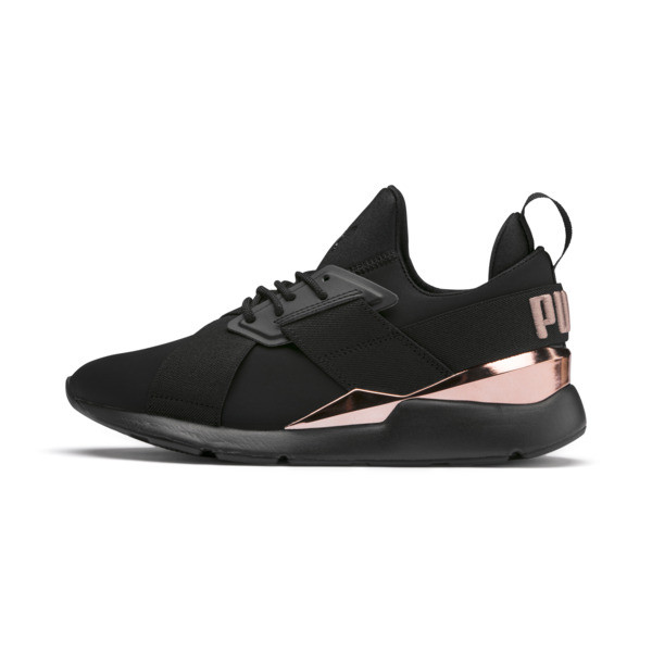 Basket Muse Metal pour femme, Puma Black-Rose Gold, large