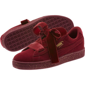 Thumbnail 2 of Suede Heart Winter Velvet JR Sneakers, Tibetan Red-Puma Team Gold, medium