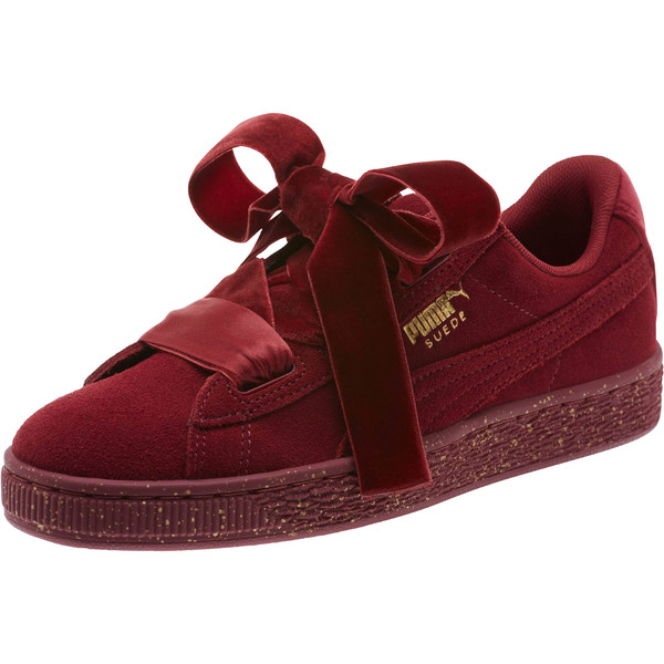 Suede Heart Winter Velvet JR Sneakers, Tibetan Red-Puma Team Gold, large