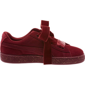 Thumbnail 3 of Suede Heart Winter Velvet JR Sneakers, Tibetan Red-Puma Team Gold, medium