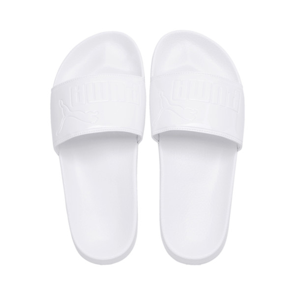 Women's Leadcat Patent Slide Sandals, Puma White-Puma White, large