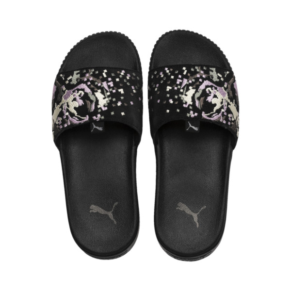 Platform Slide Digital Embroidery Damen Sandalen, Puma Black-Silver-W.Orchid, large