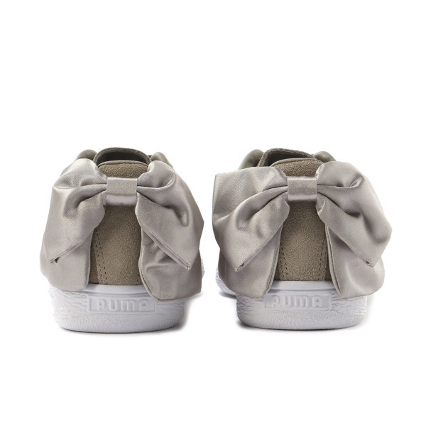 Suede Bow Women's Sneakers, Elephant Skin-Silver Cloud, large