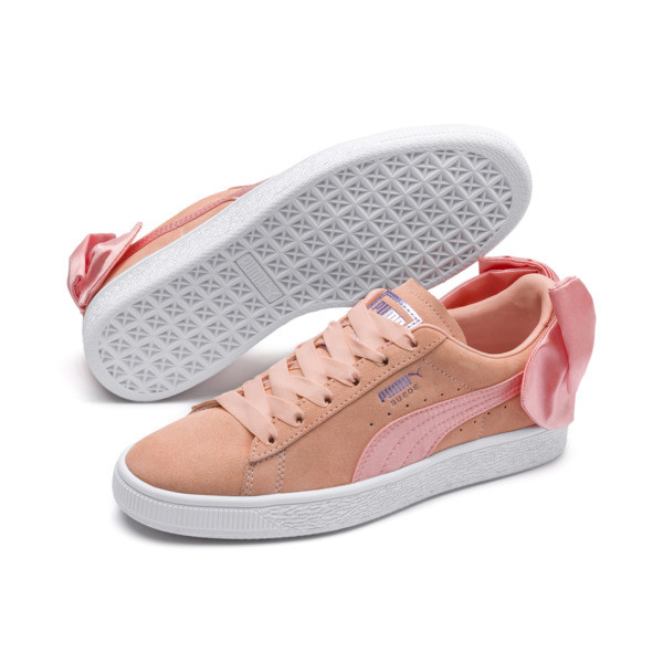 Suede Bow Damen, Peach Bud-Puma White, large
