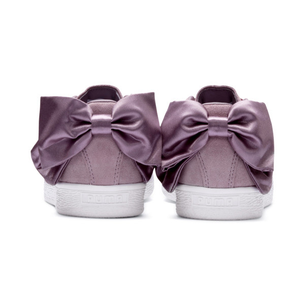 Suede Bow Damen, Elderberry-Puma White, large