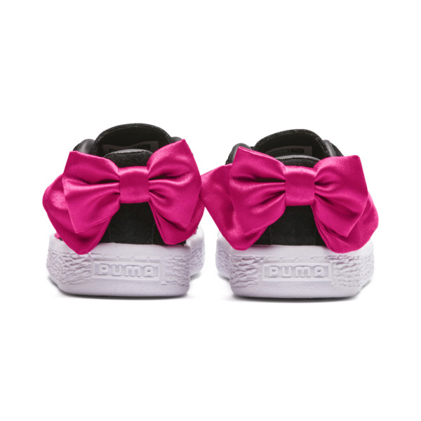 Suede Bow Girls' Trainers, Puma Black-Beetroot Purple, large