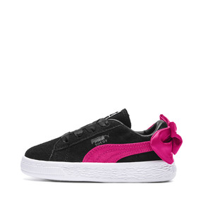 Thumbnail 1 of Suede Bow Girls' Trainers, Puma Black-Beetroot Purple, medium