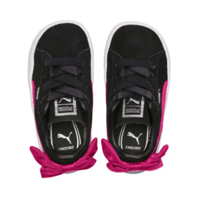 Thumbnail 6 of Suede Bow Girls' Trainers, Puma Black-Beetroot Purple, medium