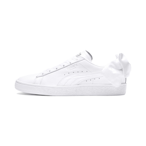 Basket Women's Bow Trainers, Puma White-Puma White, large