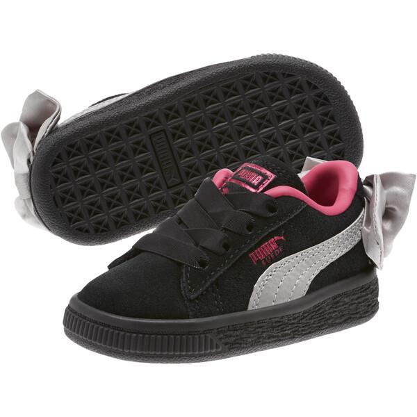 Suede Bow Infant Sneakers, Puma Black-Fuchsia Purple, large