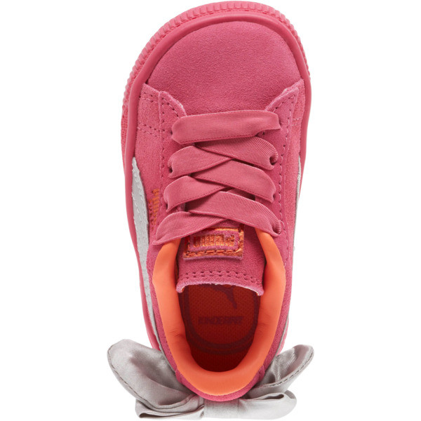 Suede Bow Infant Sneakers, Fuchsia Purple-Nasturtium, large